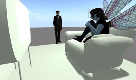 Een ontmoeting tussen echte personen in een virtuele wereld.