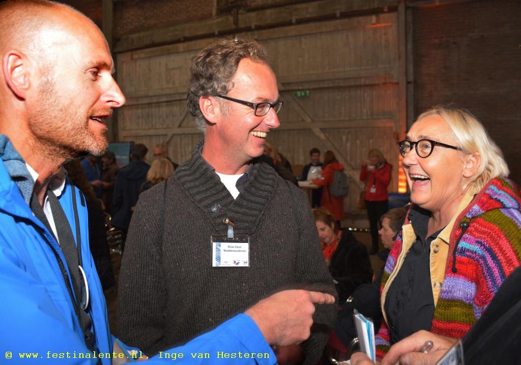 """Arjan Berkhuysen, Klaas Deen en Tweede Kamerlid Lutz Jacobi (PvdA), die aangaf: """"Vandaag hebben we een bijzondere vergadering van de Kamer, maar die laat ik schieten. Ik ben ervan overtuigd dat dit jubileum van de Waddenvereniging nog méér bijzonder is!"""""""